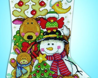 Design Works - Making New Friends Christmas Counted Cross Stitch Stocking Kit