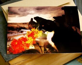 Black Cat Dragon Breathing Fire Greeting Card Tuxedo Kitty Monster