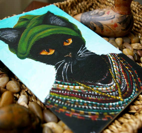 African Black Cat Wearing Tribal Beaded Necklaces and Green Turban 5x7 Greeting Card