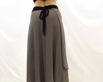 Full Length Organic Striped Wrap Skirt - Made to Order - Bamboo Organic Cotton Jersey