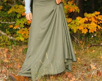 Hemp Organic Cotton Full Length Wrap Skirt - Several Colors Available - Made to Order