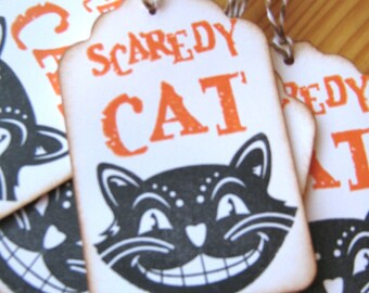 Vintage Style Halloween Scaredy Cat Gift Tags