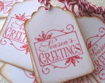 Red Seasons Greeting Gift Tags, Christmas Gift Tags