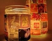 Stamp Lamp - upcycled glass jar tealight candle holder OOAK - purple mini