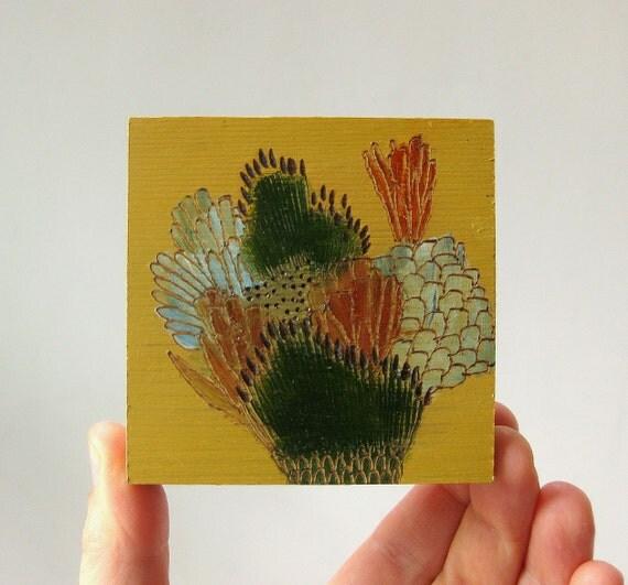 september flowers / original painting on reclaimed wood