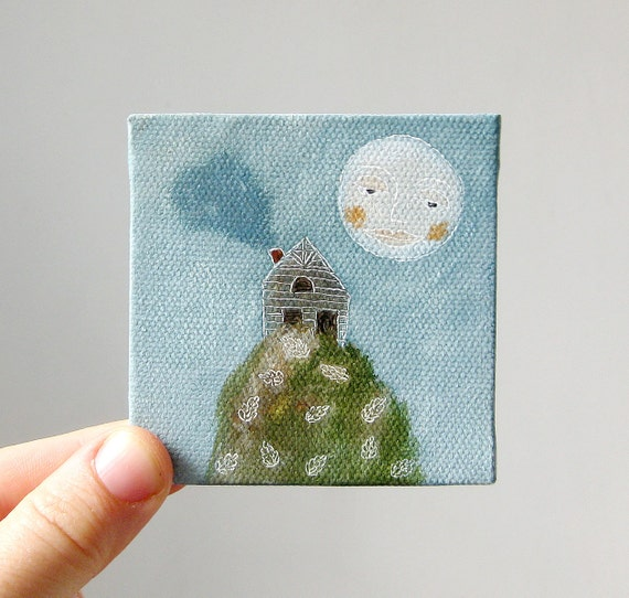 moon and the mountain / original painting on canvas