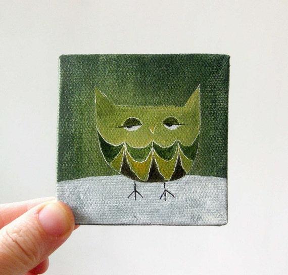 winter owl 2 / original painting on canvas