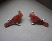 Tiny cardinal on a branch post earrings in copper fire patina on sterling silver
