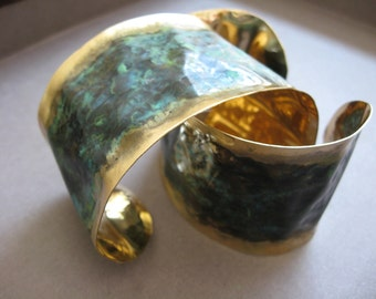 Solid  Hand Forged Flared Cuff Bracelet in Bronze with patina