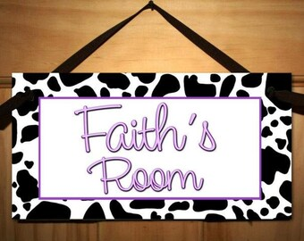 Cow Print Girls or Boys Bedroom DOOR SIGN Wall Art DS0392