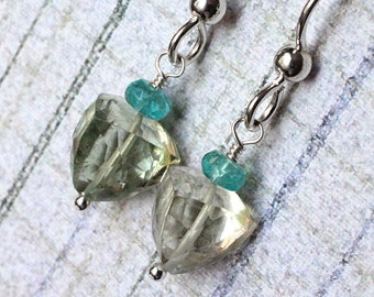 """Prasiolite Earrings with Apatite on Sterling Silver - """"DragonEye"""" by CircesHouse on Etsy"""