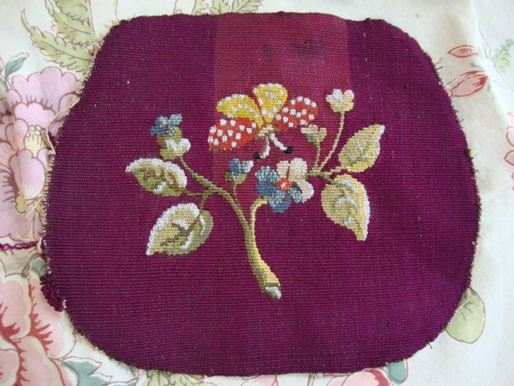Gorgeous Antique Vintage French Handmade Embroidered Tapestry Panel C1900 butterfly & flowers for a handmade sewing reworking project