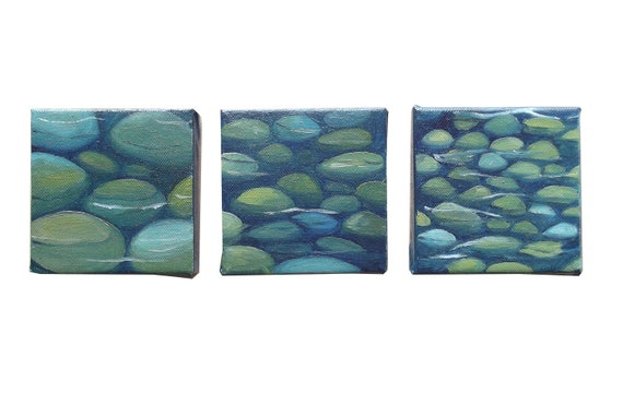 Stones and water   - blue triptych original oil paintings on canvases