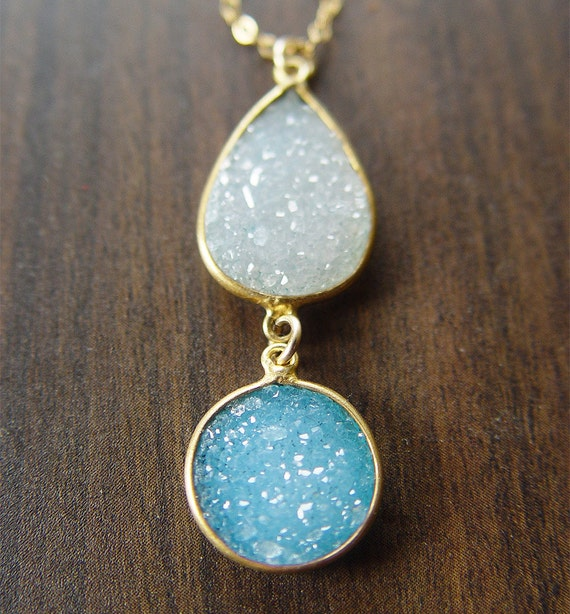 Double Druzy Gold  Necklace