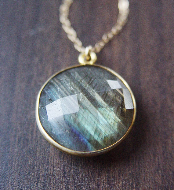 Round Gray Labradorite Necklace - 14k Gold