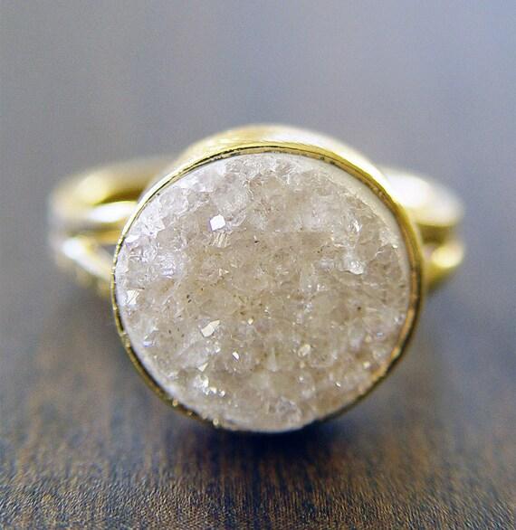 Vanilla Druzy Gold Ring - White Crystals