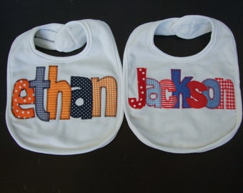 2 Bibs - Personalized Appliqued for boys or girls - name bibs - baby shower gift - your choice of colors by Tried and True Designs on Etsy