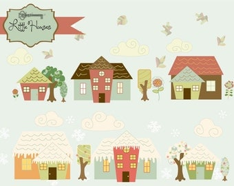 Instant Download -Little Houses, whimsical village: Digital Clipart and Paper Set
