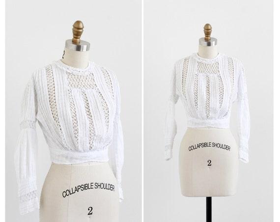Victorian blouse / Edwardian blouse / Antique White Cotton and Lace Blouse
