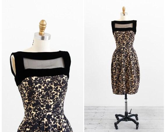 vintage 1960s dress / 1950s dress / Black and Buttercream Cocktail Window Dress