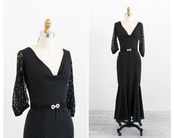 vintage 1930s dress / black 1930s gown / Black 1920s Gown with Lace Sleeves and Rhinestone Belt