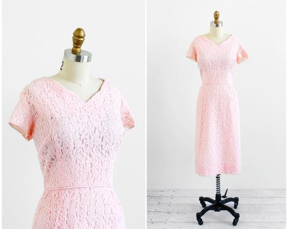 vintage 1950s xl dress / plus size dress / Pink Lace Wiggle Dress