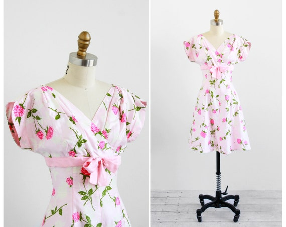 r e s e r v e d - vintage 1960s dress /1950s dress / White and Pink Roses Polished Cotton Party Dress