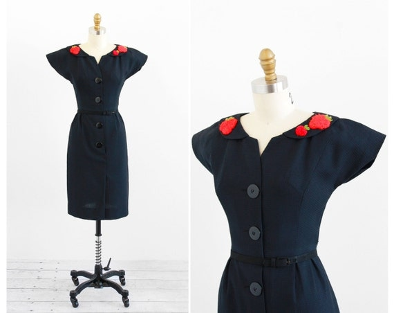 vintage 1950s dress / 50s black dress / Little Black Dress with Red Strawberry Appliques