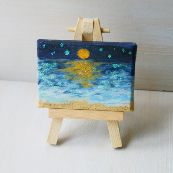 Seascape Painting - Original Painting of Blue Water with Glowing Moon on Mini Canvas