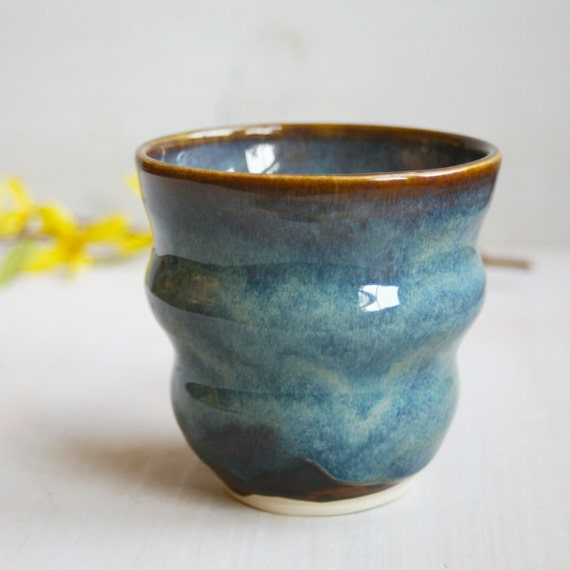 Yunomi Tea Cup - Blue Brown Glazed Cup - Handmade Ceramic Pottery Ribbed Cup