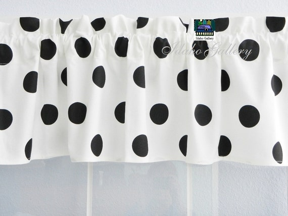 "Retro Black and White Large Polka Dot Valance 14"""