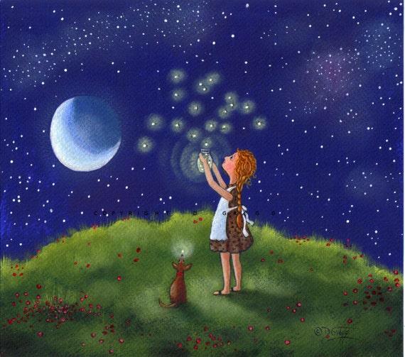 Freedom For Fireflies II  Firefly  Moon Little Dog Childrens Art  Garden  Art Original PAINTING