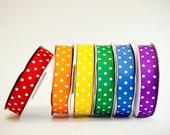 Polka Dot Grosgrain Ribbon Set, 6 colors, 5/8ths, 6 full spools, 25 yards each, 150 total yards