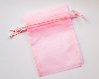48 Organza Bags 6x9 inch Light Baby Pink