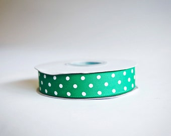 Polka Dot Grosgrain Ribbon, 25 yds. on the spool, Green, Choice of 3 sizes, 3/8ths, 5/8th, or 7/8ths