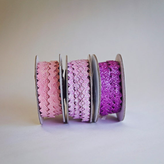 30 Yards of Glitter Ric Rac, 3/8ths inch, 3 Colors, 10 yds. of each, Light Pink, Lavender, and Purple, Rick Rack, Ricrac, Rickrack