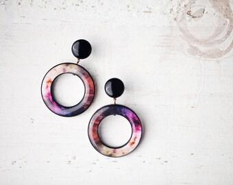 Pink galaxy earrings - Space earrings - Pink universe earrings - Pink nebula earrings - Space jewelry - Pink earrings (E112)