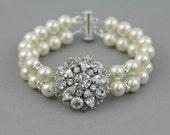 Bridal Bracelet , Crystal Bracelet , Pearl Bracelet , Bridal Crystal Pearl Bracelet , Bridesmaid Bracelet Jewelry , Pearl Bridal Jewelry