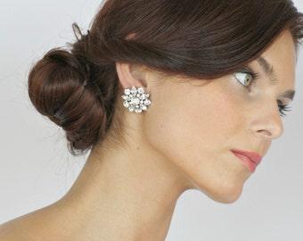 Bridal Earrings, Stud Earrings, Wedding Crystal Earrings, Bridal Rhinestone Earrings, Vintage Style Earrings, Wedding Crystal Jewelry