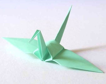 100 Small Origami Cranes Origami Paper Cranes - Made of 7.5cm 3 inches Japanese Paper - Ice Green