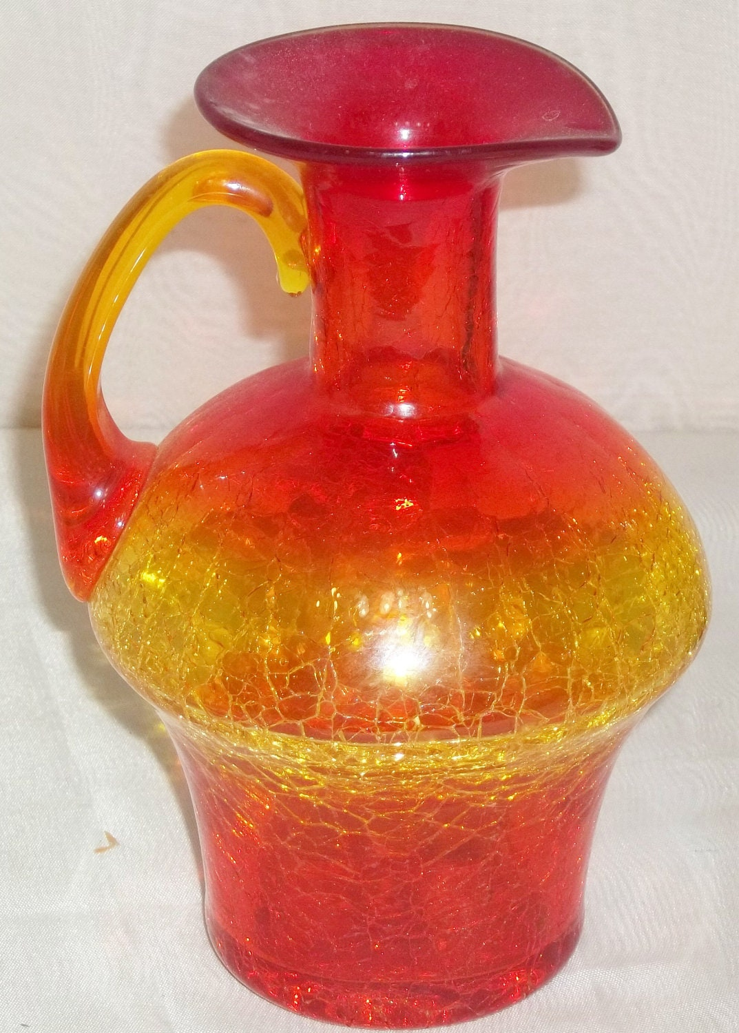 Vintage Amberina Crackle Glass Pitcher Ewer Hand Blown