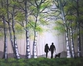 """Original Large Modern Abstract Painting of  Couple Walking Dog Through the Park 36x24x.75"""" Ready to ship"""