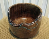 Myrtle Wood Bowl With Turquoise Inlay