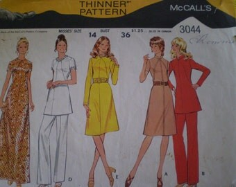 Vintage 1971 Sewing Pattern McCall's 3044- Dress or Tunic and Pants
