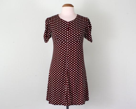 70 dress / maroon polka dot puff sleeve empire waist mini (s - m)