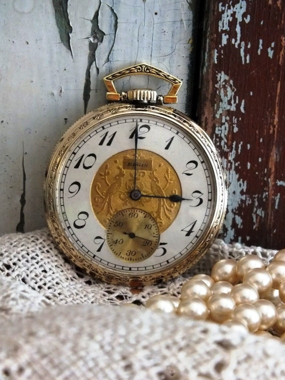 Antique Elgin Art Deco Pocket Watch by avintageobsession on etsy