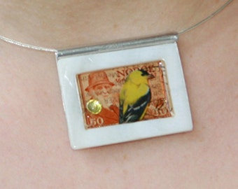 Ready to Fly -- Art Collage Necklace
