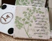Nature Coasters - Ginkgo Leaf Design - Garden Home Decor - Set of 4 Tiles