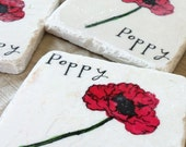Red Poppy Tile Coasters, Set of 4, Ready to Ship
