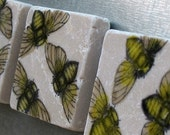 Bee Tile Magnets - Nature Lover Gift - Set of 3 - Ready to Ship